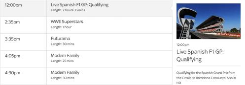 2014 Spanish GP on Sky1