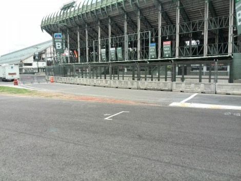 The narrow and short pit entrance beneath the baseball stadium
