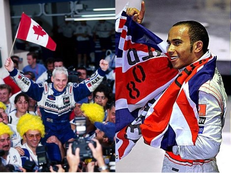 Left: JV celebrates in 1997 Right: Hamilton following the dramatic 2008 climax
