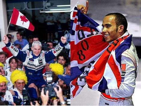 Left: JV celebrates in 1997 Right: Hamilton following the dramatic 2008 climax