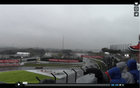 First shot we see. Yellow light clear on right hand side, entering safety sector 7, prior to where Sutil's stranded car is