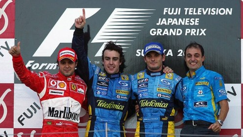 FYI, the 2006 season does count, although only just.  It was the 2006 Japanese GP which effectively secured the title for Alonso after Schumacher's engine failure effectively put pay to his Championship ambitions.