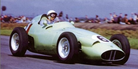 Stirling Moss finished 2nd at the 1959 British Grand Prix driving the BRM Type 25
