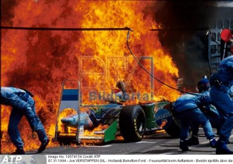 Jos VERSTAPPEN  - Feuerunfall - Fire accident of Jos VERSATPPEN (NL) in the Benetton-Ford at the Hockenheim circuit