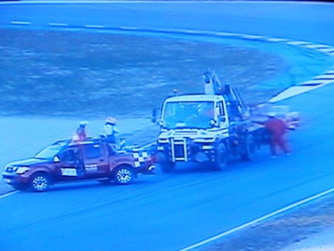 The Sauber is recovered at turn 6