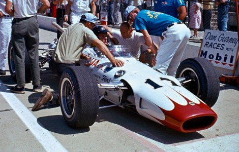 Dan Gurney at the 1965 Indy 500 in his Lotus 38