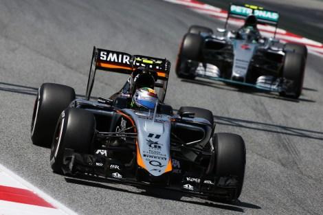 Sergio Perez (MEX) Sahara Force India F1 VJM08. Spanish Grand Prix, Saturday 9th May 2015. Barcelona, Spain.