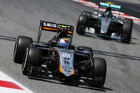 Sergio Perez (MEX) Sahara Force India F1 VJM08. Spanish Grand Prix, Saturday 9th May 2015. Barcelona, Spain.