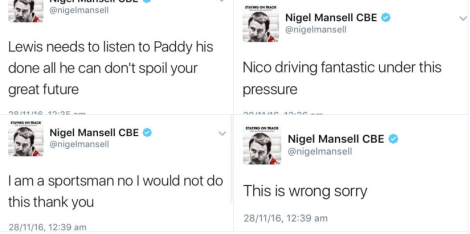 Tweets from Nigel Mansell critiquing Lewis Hamilton's driving tactics in Abu Dhabi 2016