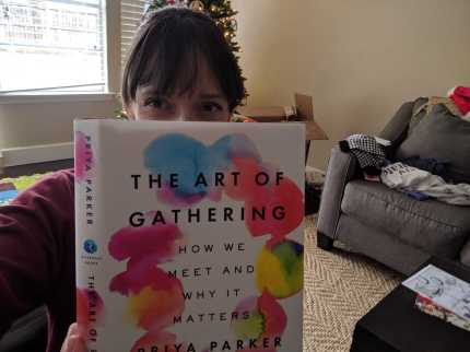 Amy, getting ready for a trip to Europe, makes sure to pack The Art of Gathering.