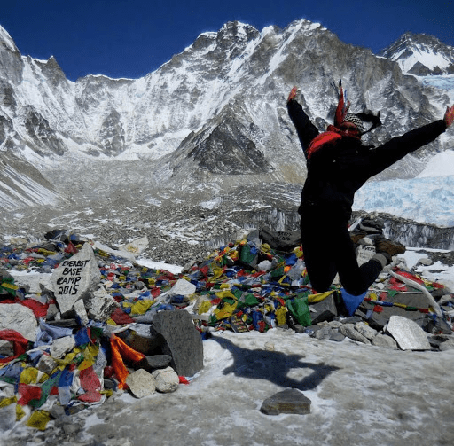 Joyce at Everest Base Camp, Nepal, right before she lost her phone...