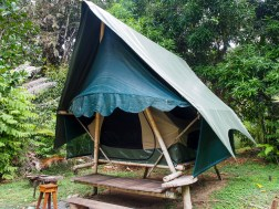 Tiki Tents at the Finca ecolodge. A bit bigger than our little orange tent.