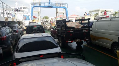 Loaded up on the car ferry off the penninsula