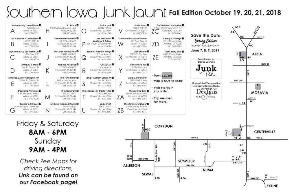 Southern Iowa Junk Jaunt, Iowa, Centerville, Junk Jaunt, map, fall, antique, vintage, road trip