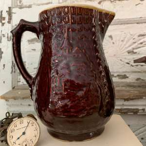 Brown Stoneware Pitcher