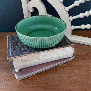Green Ribbed Bowl Pottery