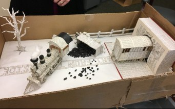 Railroad yard made from books Larry Williams Jr.