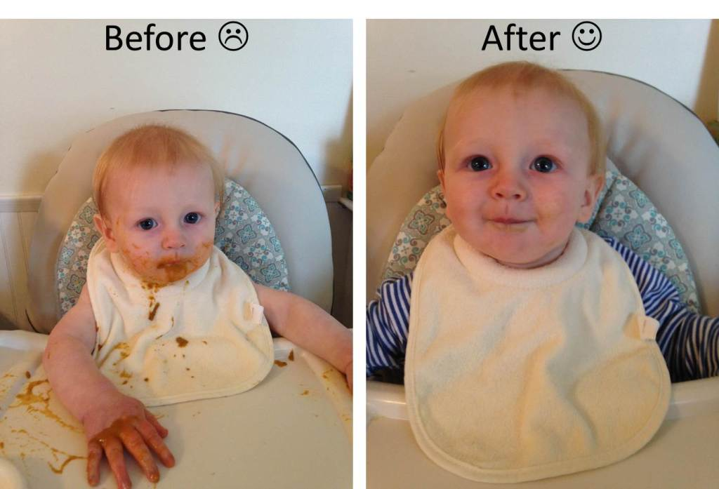 Before and after images showing the effects of the countermeasures for feeding the baby