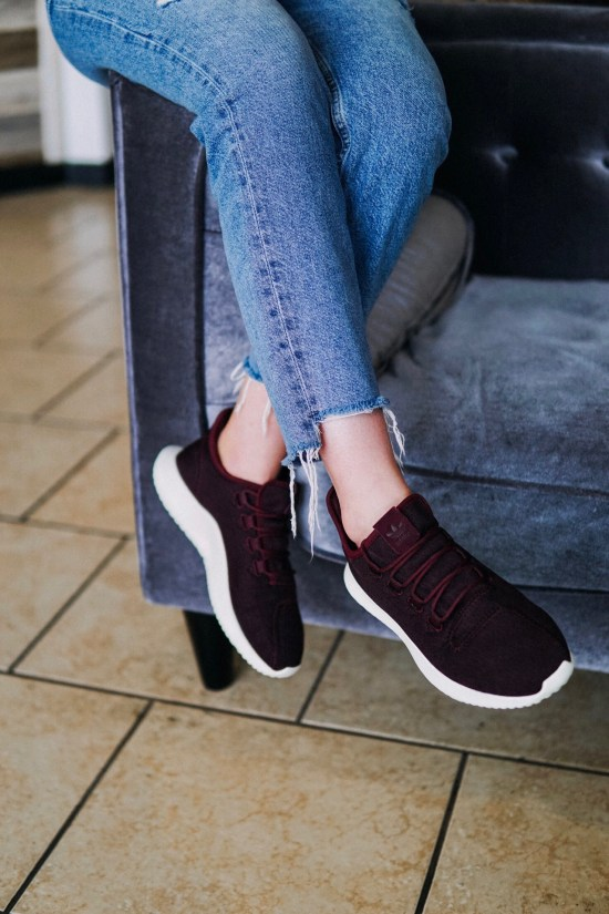 Maroon Adidas with Ripped Vintage Denim