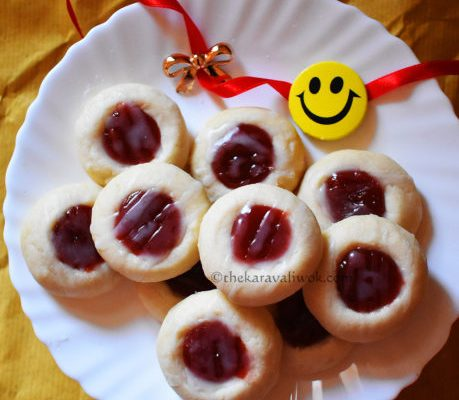 Jam Thumbprint Cookies – Eggless Cookies – Stepwise Pics