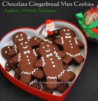 Eggless Chocolate Gingerbread Men Cookies