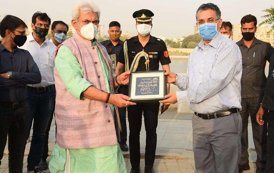 Lt Governor Manoj Sinha visits Sabarmati Riverfront in Ahmedabad