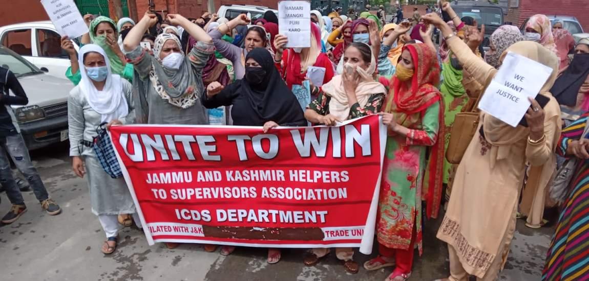 Anganwari workers, helpers stage protest, seek 'reversal' of disengagement order