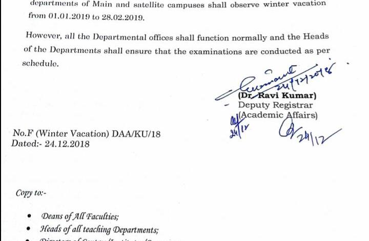 University of Kashmir announces winter vacation from Jan1st