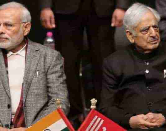 Narendra Modi and Late Mufti Sayeed in 2015. Photograph by PTI