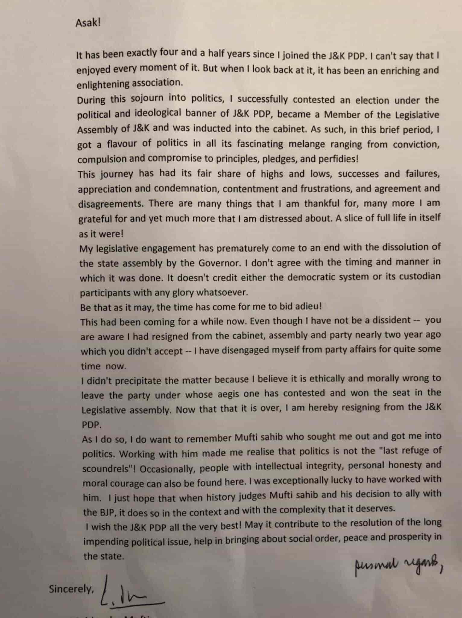 haseeb drabu, kashmir news, kashmir, pdp, drabu resignation letter