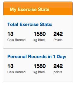 exercise stats screenshot