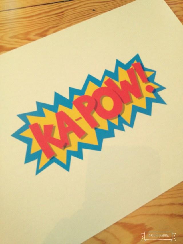 An English Mamma in Stockholm: kapow superhero slogan birthday party theme