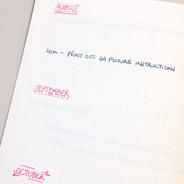The Kat Edit: bullet journal future log monthly to do