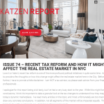 Issue 74 - Recent Tax Reform and How it Might Affect the Real Estate Market in NYC
