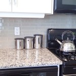Glass Subway Tile Back Splash in our Calgary Kitchen