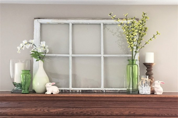spring mantel, old farmhouse window, spring decor