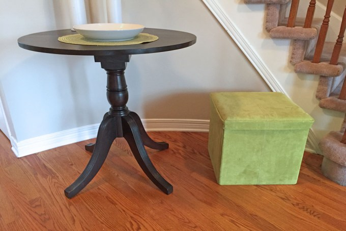 entry way table, dyncan phyfe table, table refinishing
