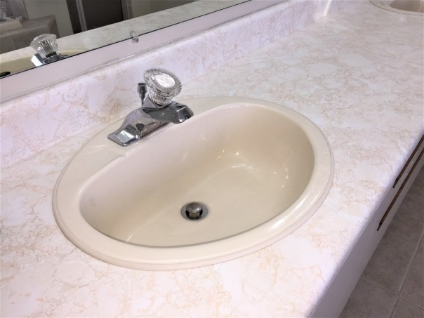 old sink, almond colored sink, eighties vanity