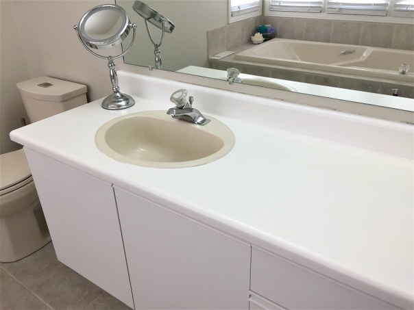 master bathroom renovation,painted vanity, painted vanity top, old vanity, white bathroom vanity