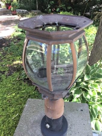 old driveway lantern, repaint exterior lantern, update exterior lantern, driveway lantern