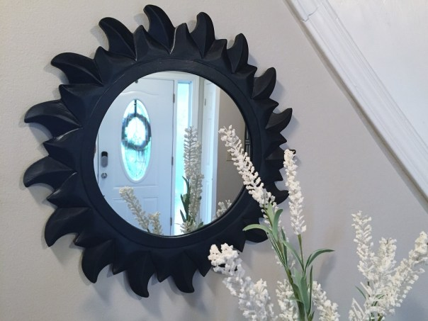sun mirror, painted mirror, spray paint, thrift store mirror, new mirror