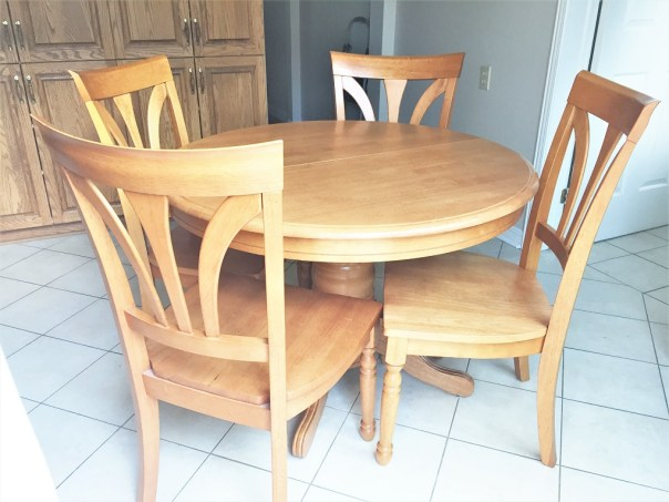How I Stained And Painted My Pedestal Kitchen Table Kay S Place