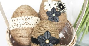 Plastic Easter Eggs Updated With Jute Twine