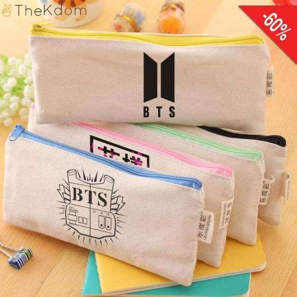 Home Korean BTS Canvas Zipper Bags - The Kdom