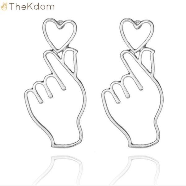 """Stud Earrings NEW """"Finger Heart"""" Earings - The Kdom"""