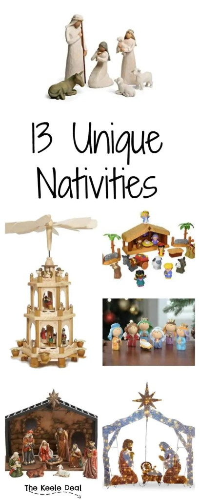 I love looking at all of the different nativities. Some are glass, others wood and there are even some toy nativities. With so many unique nativities there is something for every style. Having a toddler my favorite is #10
