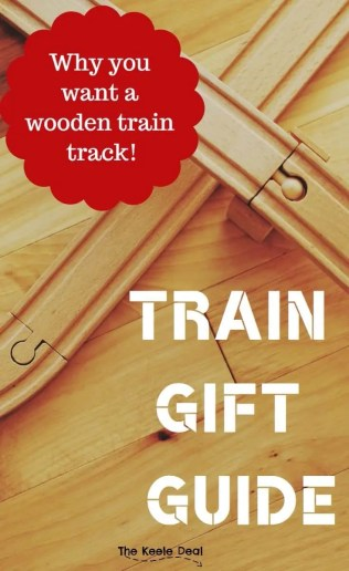 Train Gift Guide - Why you want a wooden train track and other gift ideas and information about toy trains. thekeeledeal.com #giftguide #trains #kidstoys