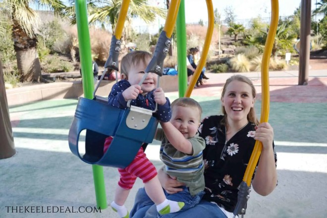 Thunder Junction in St. George Utah. The Ultimate playground With slides, swings, a mini zip line, a splash pad and even a train. #FamilyTravel #Utah #StGeorge #Park #summer