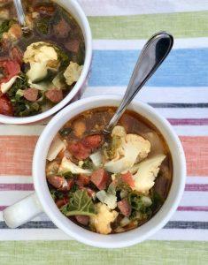 Low Carb Sausage Kale and Cauliflower Soup