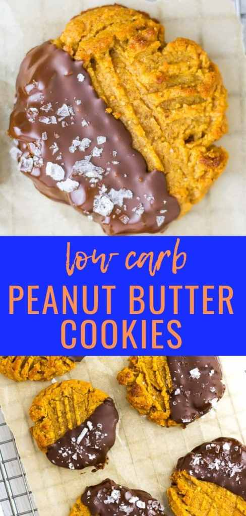 Chewy Peanut BUtter cookies with just a few ingredients...dipped in chocolate...still low carb!